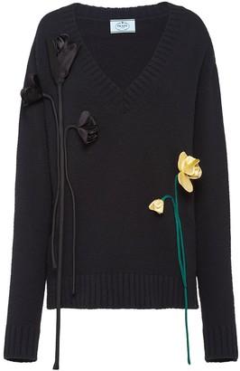 Prada flower apliques V-neck jumper