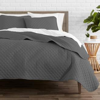 Ultrasoft Bare Home Premium Diamond Stitched 3 Piece Coverlet Set - Ultra-Soft Luxurious Lightweight All Season Bedspread (Full/Queen, Gray)