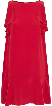 RED Valentino Fluted Draped Silk Crepe De Chine Mini Dress