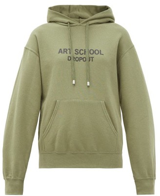 Art School Dropout Logo-print Cotton-jersey Hooded Sweatshirt - Khaki