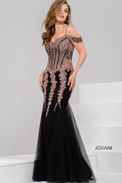 Jovani Sequined Off The Shoulder Tulle Mermaid Dress 51115