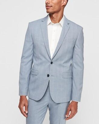 Express Extra Slim Light Blue Plaid Wrinkle-Resistant Stretch Suit Jacket