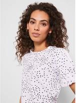 Mint Velvet Print Puff Sleeve Spot T-shirt