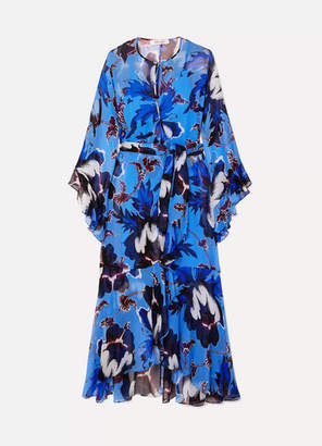 Diane von Furstenberg Lizella Ruffled Floral-print Crepon Wrap Maxi Dress - Blue
