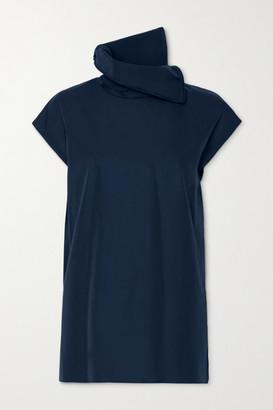 Akris Draped Cotton-poplin Blouse - Navy