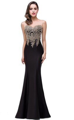 Babyonlinedress Elegant Mermaid/Sheath Long Gold Applique Formal Evening Dresses ZLCPS262 Black Size 6