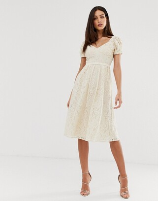 Little Mistress all over lace sweetheart neck midi skater dress in cream