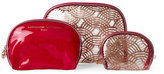 Adrienne Vittadini Set of 3 Rose Gold Scallop-Print Cosmetic Bags