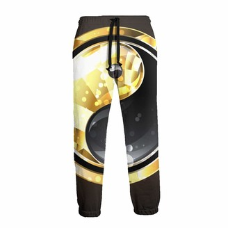 Alysai Gold and Silver Tai Chi Bagua Yin Yang Workout Pants Men - Quick Dry Sports Sweatpants Open-Hem with Pockets XXL