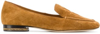 Tory Burch Embossed-Logo Suede Loafers