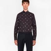 Paul Smith Men's Tailored-Fit Navy 'Cufflink Charm' Print Cotton 'Artist Stripe' Cuff Shirt