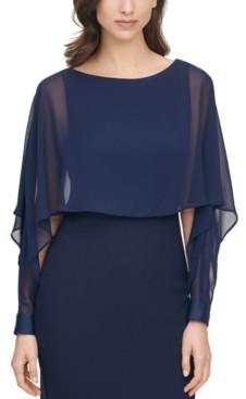 Vince Camuto Plus Size Chiffon-Overlay Bodycon Dress