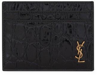 Saint Laurent Tiny Monogram Croc-Embossed Card Holder