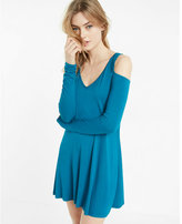 Express Cold Shoulder Long Sleeve Trapeze Dress