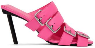 Balenciaga Pink Buckle Heeled Sandals