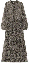 Paul & Joe Horys Floral-print Silk-crepon Maxi Dress - Black
