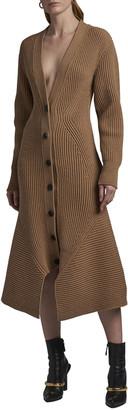 Alexander McQueen Sculpted Rib-Knit Cardigan Dress