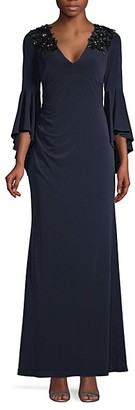 Calvin Klein Embellished Stretch Bell-Sleeve Gown