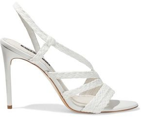 Alice + Olivia Fanniey Braided Raffia Slingback Sandals