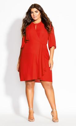 City Chic Jolie Wrap Dress - red