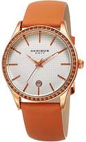 Akribos XXIV Women's Quartz Stainless Steel and Leather Casual Watch, Color:Orange (Model: AK964TN)
