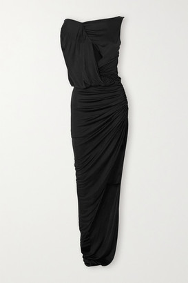Redemption Cutout Draped Ruched Stretch-jersey Gown - Black