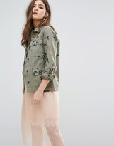 Miss Selfridge Floral Printed Military Jacket