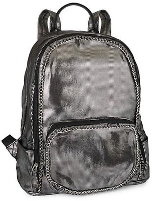 Bari Lynn Metallic Chain Backpack