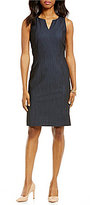 Preston & York Danette Stretch Denim Sleeveless V-Neck Suiting Dress