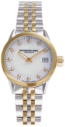 Raymond Weil Two-Tone Stainless Steel, Mother-Of-Pearl & Diamond Bracelet Watch