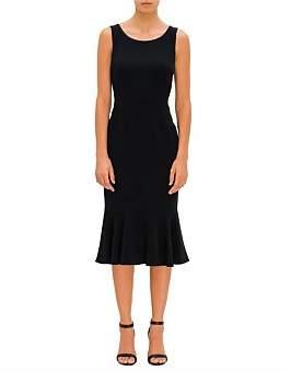 Dolce & Gabbana Cady Strecth Sleeveless Dress W/ Ruffle Edge Skirt
