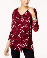Alfani Petite Printed Asymmetrical Mesh Top, Created for Macy's