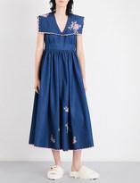 Natasha Zinko Floral-embroidered denim midi dress