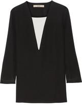 Etro Two-tone Silk-crepe Top - Black