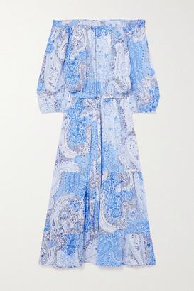 Melissa Odabash Condor Off-the-shoulder Belted Paisley-print Georgette Midi Dress - Light blue