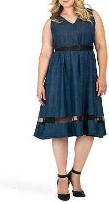 Standards & Practices Julia Tie Waist Tencel Fit & Flare Dress (Plus Size)