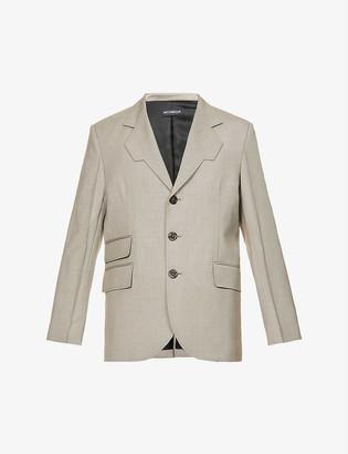 Nicomede Angular-lapel single-breasted wool jacket