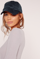 Missguided Navy Faux Suede Baseball Cap