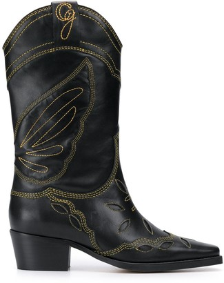 Ganni Embroidered Cowboy Boots