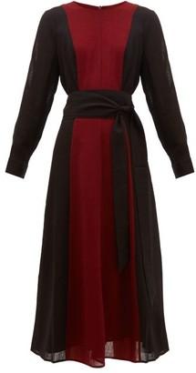 Cefinn - Panelled Belted Voile Midi Dress - Womens - Burgundy Multi