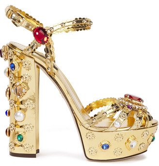 Dolce & Gabbana Embellished Metallic Patent-leather Platform Sandals