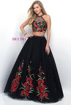 Blush Lingerie Two-Piece Jeweled and Floral Embroidered Ball Gown 5606