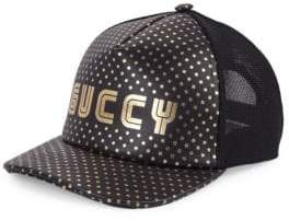 Gucci Logo Leather Baseball Hat