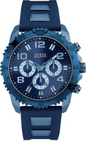GUESS Men's Chronograph Two-Tone Blue Silicone Strap Watch 45mm U0599G4