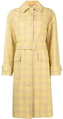 MSGM Plaid-Pattern Belted Coat