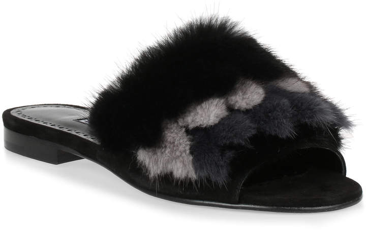 Manolo Blahnik Pelosusmin black fur slipper