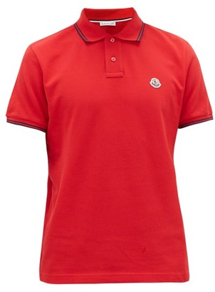Moncler Embroidered-logo Cotton-pique Polo Shirt - Red