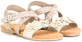 MonnaLisa glitter crossover strap sandals - kids - Leather/Suede/PVC/rubber - 24