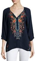 Johnny Was Olivia 3/4-Sleeve Embroidered Blouse, Petite