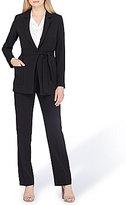 Tahari ASL Tie Belt Notoh Collar Pant Suit
